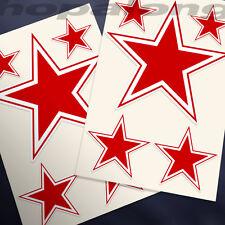 Retro Rojo Star Etiqueta calcomanías (X10)