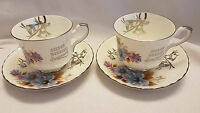 2 Royal Stafford bone china Silver Wedding Anniversary cups & saucers