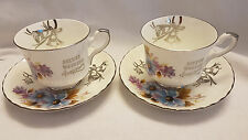 2 Royal Stafford bone china Silver Wedding Anniversary cups & saucers