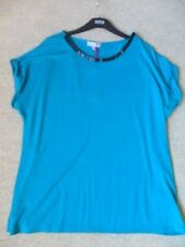 EX M&S PER UNA TEAL LIGHTWEIGHT STRETCH DELICATE BEADING DETAIL TOP PLUS SIZE 18