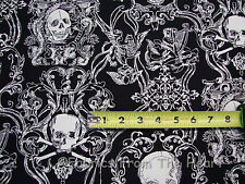 Skullduggery White Skulls on BLack By YARDS Alexander Henry Canvas Twill Fabric