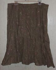 WOMENS j.h. collectibles BROWN W/  FLORAL SKIRT  SIZE 16W