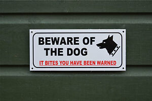 BEWARE OF THE DOG IT BITES YOU HAVE BEEN WARNED sign or sticker choice of size