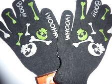 paire de gants noirs, tête de mort vertes et blanches taille unique