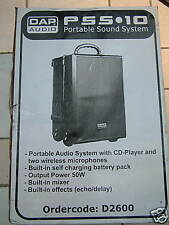 DAP Portable Sound System PSS10 mains/battery c/w two Wireless Mics NEW & Boxed