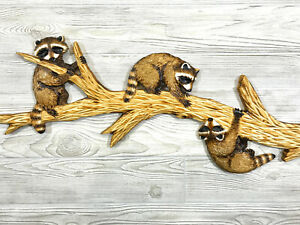 Hand Carved 3 RACCOON CUBS on BRANCH Wall Art Chainsaw Realistic Wood Carving