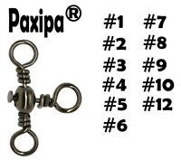 100pcs 3 Way Fishing Barrel Swivels Solid Rig Rings Bearing Connectors paxipa