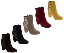 Ladies Luxury Faux Suede Glitter Block Heel Short Ankle Boots Size 3 4 5 6 7 8