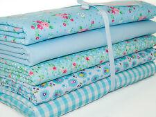 Fat Quarter Bundle -  Blue Shabby Chic Florals - Polycotton Fabric Remnants