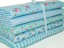 Cuarto gordo Bundle-Azul Shabby Chic Florales-Tela polycotton restos