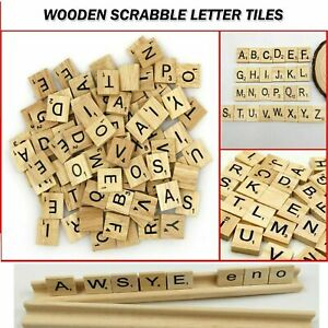 200 PIECES WOODEN ENGLISH LETTERS BLOCKS SCRABBLE TILES CRAFTS ALPHABET UK SELL