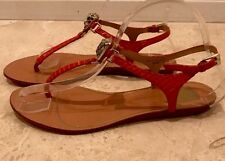 DOLCE VITA Red Orange Snake Leather Strappy Flat Wedge Sandals Gently Worn 8M
