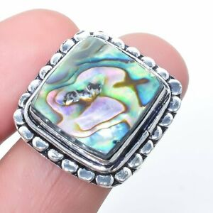 Abalone Shell Gemstone Handmade Ethnic Silver Jewelry Ring Size 8 LG875