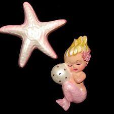 Mermaid with Starfish & Rhinestone Bubble Wall Plaque for vintage or retro bath