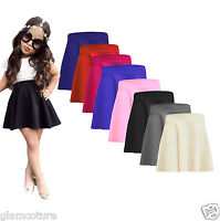 KIDS GIRLS CHILDREN HIGH WAISTED STRETCH PLAIN FLIPPY FLARED SHORT SKATER SKIRTS