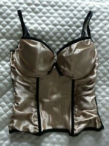 Satin silk nude black champagne bustier hook & eye corset basque body SIZE 36B