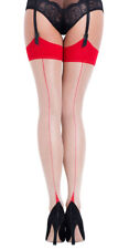 L'AGENT By AGENT PROVOCATEUR Seam & Heel Stocking Nude/Red Size M BNIP