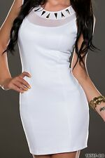 *♥*Sexy Cocktail-Kleid Business Spitzen Abend-Kleid Größe Party 36/38 Weiß