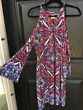 New RARE $119 Chico's Charming Paisley Cold Shoulder Dress 2 = Large L 12 14 NWT