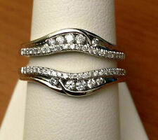 0.50Ct Diamond Solitaire Enhancer Ring Guard Wrap Wedding Band 14K White Gold Fn