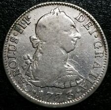 1773 Fm 2 Reale Mexico Us Coin Milled Bust Charles Iii Silver Inverted Letters