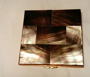 VINTAGE FRENCH MOTHER OF PEARL POWDER COMPACT