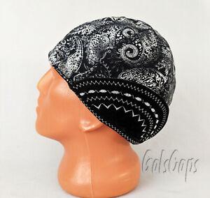 #35 Black/White Bandana Welders Hats, Bikers Caps, Welding Cap Hat, Cotton.