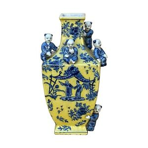 Chinese Yellow Blue Dimensional Kids Motifs Square Porcelain Vase ws1605