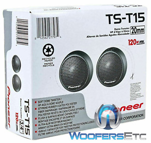 PIONEER TS-T15 PRO 120W FLUSH MOUNTING SOFT DOME CAR AUDIO STEREO TWEETERS NEW