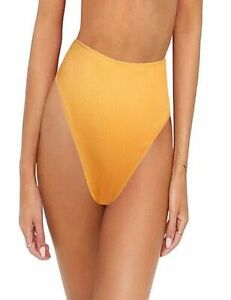 Yellow Ribbed High Waist Stretch Fitted Bikini bottom in Small Medium Large XL