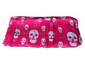 Police Skull Print Pink Summer Scarf