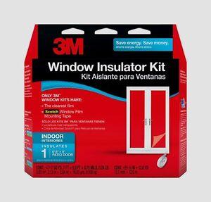 """3M PATIO DOOR Large Window Insulator Kit INDOOR 84""""X112"""" Clear Film Draft 2144W6"""