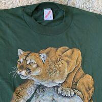Jerzees Vintage 90s Large Green Mountain Lion T Shirt Cougar Nature Print USA