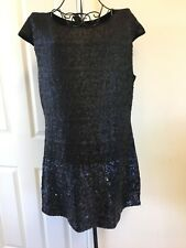 Ladies Gok Wan Sequin Two-tone Black Dress Party Size 12