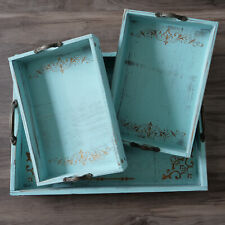 Vintage Blue Ottoman Wooden Serving Trays with Handles Set of 3,Pattern Designed