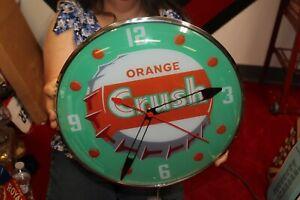 "Orange Crush Soda Pop Gas Oil 15"" Lighted Metal Pam Clock Sign"