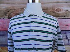 Polo Golf by RL White Green Pony Striped Men's Size XL Polo Short Sleeve Shirt