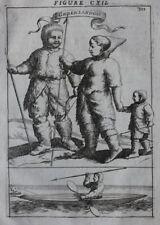 Original antique print GREENLANDERS, INUIT, SEAL HUNTING, KAYAK, Mallet, 1683