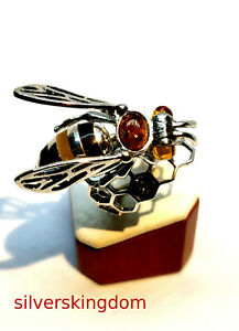 Full Colour Baltic Amber Bee Ring  on Silver 925