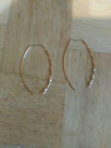 arete  earrings drop dangle threader 10 karat gold no stones