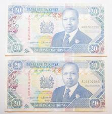 KENYA: 2 x 20 shillings Billets depuis le 14th septembre 1993 in (environ 5062.22 cm) XF + condition.