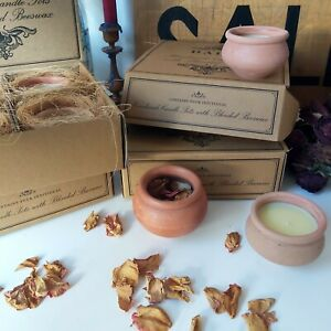 4 LAVENDER SCENTED BEESWAX CANDLES, HANDMADE CLAY POTS, MADE IN INDIA, GIFT BOX