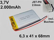 LiPo Batterie Akku Lithium Polymer 2000mAh 3.7 V 1S JST PH 2.0mm 634168 PCB 4