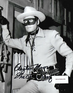 CLAYTON MOORE as THE LONE RANGER. Hand signed B&W 8x10 . photo w COA