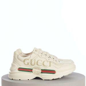 GUCCI 890$ Men's Ivory Leather Rhyton Vintage Gucci Logo Sneaker