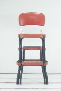 Vintage Red Step Stool Cosco 50s Pull Out Retro MidCentury Metal Chrome