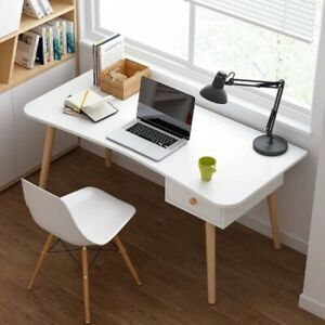 White Small Computer Dressing Table Study Desk Home Office Worksation Wood Legs