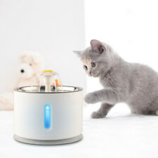 2.4L Stainless Automatic Pet LED Water Fountain Cat Drinking Bowl Dispenser US