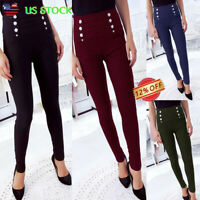 Womens Ladies Pencil Stretch Skinny Pants High Waist Slim Casual Office Trousers