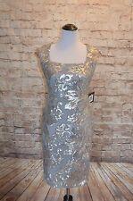 Modcloth One Who Glitz Me Dress NWT 4 Silver Floral sequin Sheath Cap sleeves